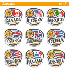 Flags of american national basketball teams vector