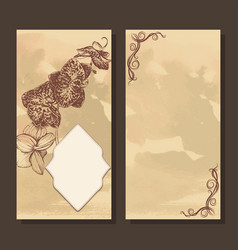 Greeting card with frame and orchid vector