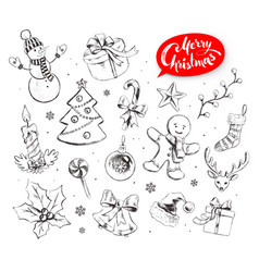 Hand drawn collection of christmas objects vector