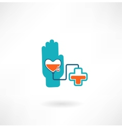 hand with heart blood transfusions in the vector image vector image