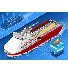 Isometric Icebreaker Ship Isolated in Navigation vector image