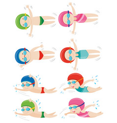 kids doing different swimming strokes vector image vector image