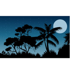 Landscape jungle at the night silhouette style vector