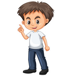 Little boy pointing finger vector