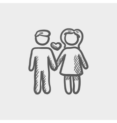 Loving couple sketch icon vector image