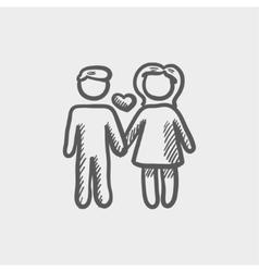 Loving couple sketch icon vector