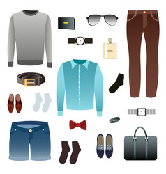 mens look shoes accessories vector image