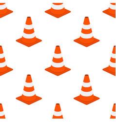 orange traffic cone seamless pattern cartoon flat vector image