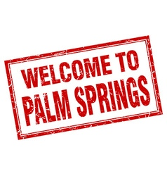 Palm Springs red square grunge welcome isolated vector image