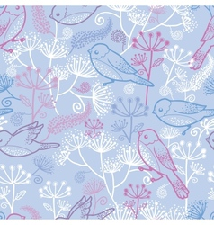 Pastel birds and flowers seamless pattern vector image