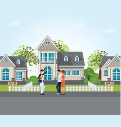 real estate agent showing new house to couple vector image