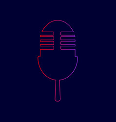 Retro microphone sign line icon with vector