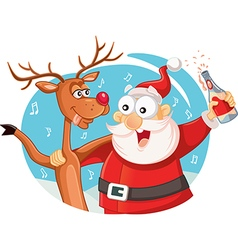 Santa Claus and his Reindeer Drinking and Celebrat vector image vector image