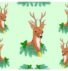 Seamless texture christmas reindeer vector
