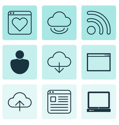 Set of 9 web icons includes website page data vector