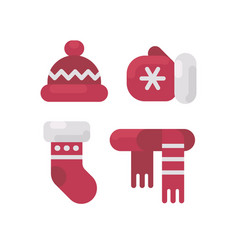 set of winter clothes flat icons vector image