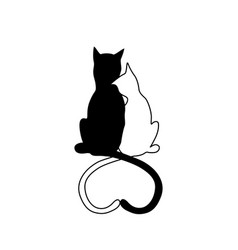 silhouette of cat couple in love with shape heart vector image