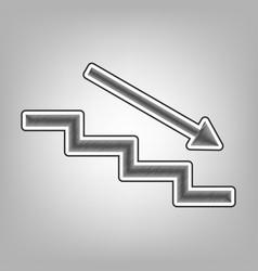 Stair down with arrow pencil sketch vector