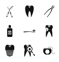 Stomatology icons set simple style vector