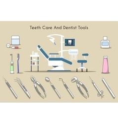 Teeth care and dentist tools vector image vector image