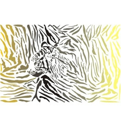 Tiger camouflage background with head vector image vector image