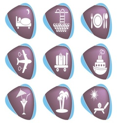 Travelling and accommodation icons vector image vector image