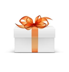 White Square Gift Box with Orange Ribbon and Bow vector image