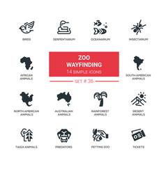 Zoo wayfinding - modern line icons set vector