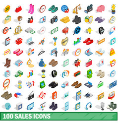 100 sales icons set isometric 3d style vector image