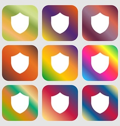 Shield protection icon nine buttons with bright vector