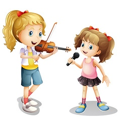 Girl singing and girl playing violin vector