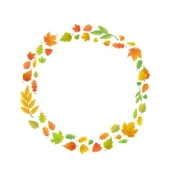 Cute leaves arranged in ring shape isolated on vector image