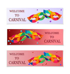 Carnival masks flyers and invitation to the vector