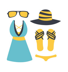 Swimsuit with beach accessories beach and vector