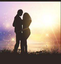 Valentines couple in grassy sunset landscape vector