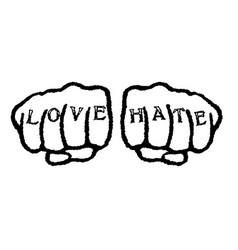 Love hate tattoo vector