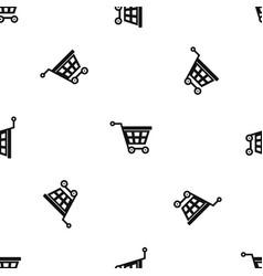 Basket on wheels pattern seamless black vector