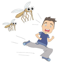 Boy runs away from mosquitoes vector