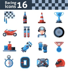 Racing icons set vector