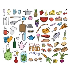 Food and cooking color icons collection vector