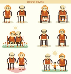 Old people life icons isolated vector