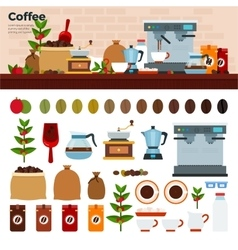 Coffee shop with different kinds of coffee on the vector