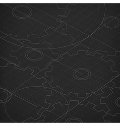 Blueprint of cogwheels technology abstract vector
