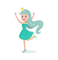 beautiful cartoon princess girl character with vector image vector image