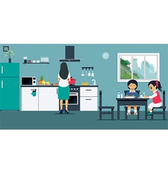 Breakfast in the kitchen vector image