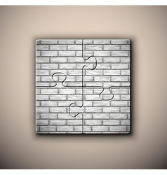 Brick background on puzzle vector image vector image