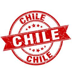 Chile red round grunge vintage ribbon stamp vector