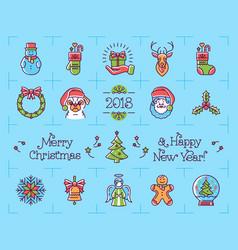 Christmas icons set new year symbols chinese vector