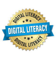 Digital literacy round isolated gold badge vector