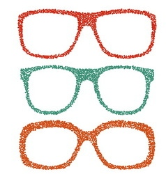 Dotted eyeglasses set vector